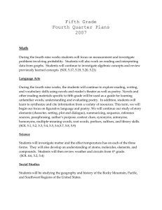 Fifth Grade Fourth Quarter Plans 2007