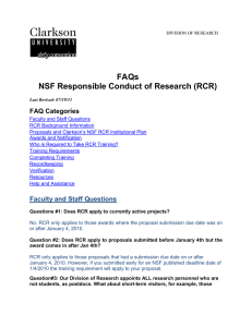 FAQs NSF Responsible Conduct of Research (RCR)  FAQ Categories