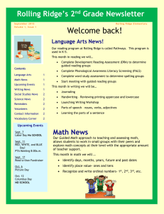Rolling Ridge's 2 Grade Newsletter