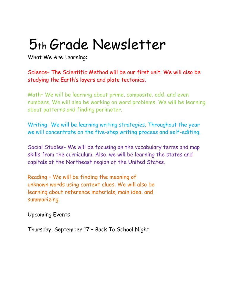5 Grade Newsletter th