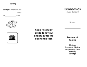 Economics Keep this study guide to review and study for the