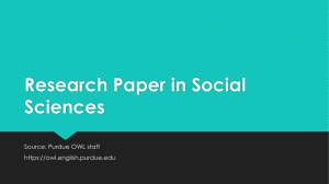 Research Paper in Social Sciences Source: Purdue OWL staff