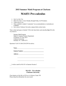 MA031 Pre-calculus 2015 Summer Math Program at Clarkson