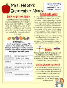 Mrs. Hetey's September News  Language Arts