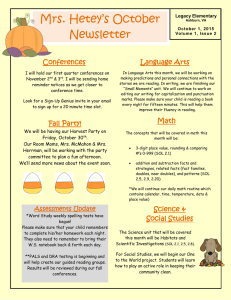 Mrs. Hetey's October Newsletter Conferences Language Arts