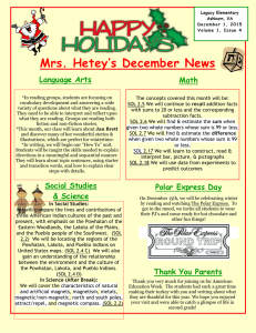 Mrs. Hetey's December News Language Arts Math