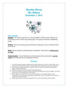 Monday Memo Ms. Abbate December 7, 2015