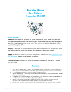 Monday Memo Ms. Abbate November 30, 2015