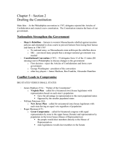 Chapter 5 - Section 2 Drafting the Constitution