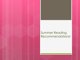 Summer Reading Recommendations!