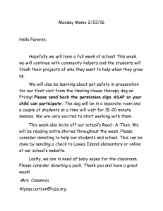 Monday Memo 2/22/16  Hello Parents,