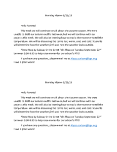 Monday Memo- 9/21/15  Hello Parents!