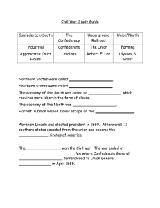 Civil War Study Guide  Confederacy/South The