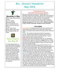 Mrs. Chavez's Newsletter May 2016  First Grade Field Trip