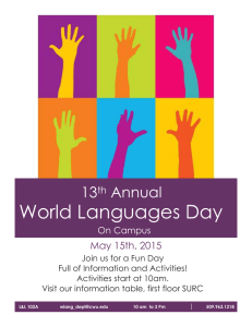 World Languages Day 13 Annual May 15th, 2015