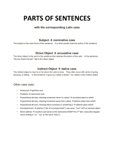 PARTS OF SENTENCES with the corresponding Latin uses Subject Direct Object