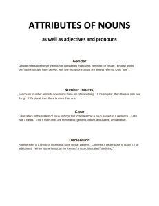 ATTRIBUTES OF NOUNS as well as adjectives and pronouns Gender