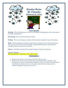 Monday Memo Mr. Palumbo February 8, 2016 -Class Agenda-