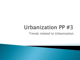 Trends related to Urbanization