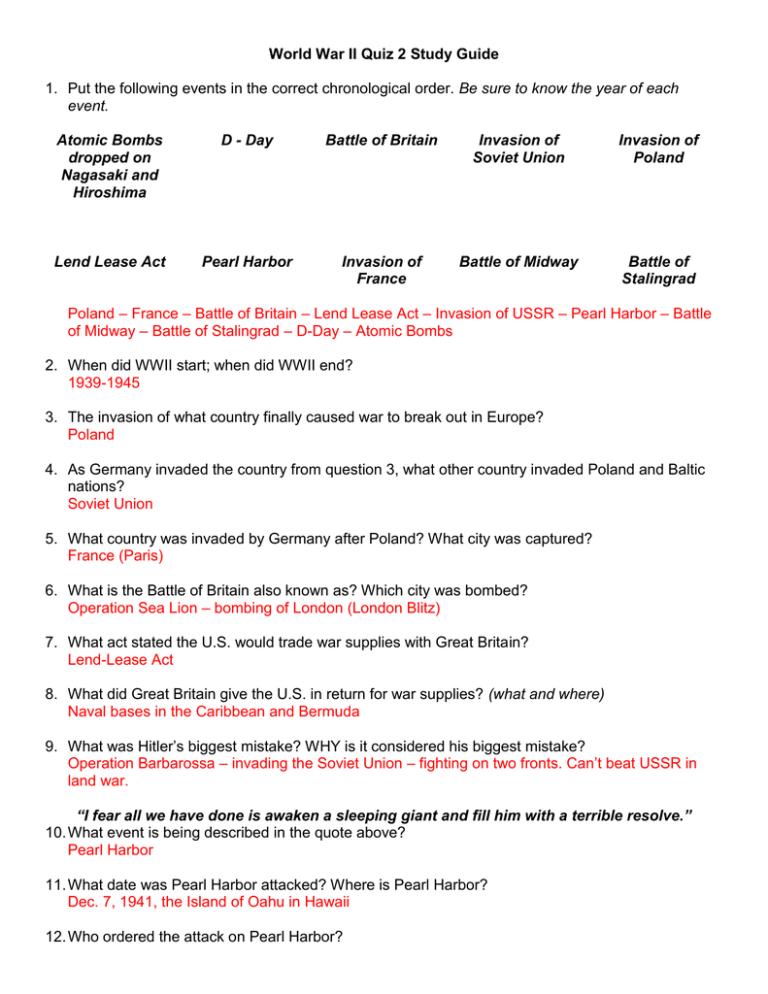 World War Ii Quiz 2 Study Guide Event