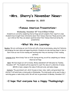 ~Mrs. Sherry's November News~  ~Famous American Presentations~ November 16, 2015
