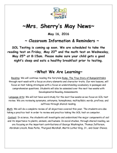 ~Mrs. Sherry's May News~  ~ Classroom Information & Reminders ~