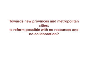 Towards new provinces and metropolitan cities: no collaboration?