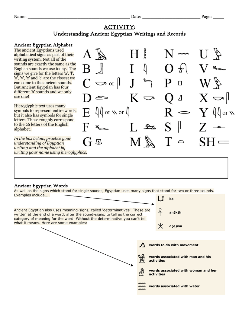 Activity Understanding Ancient Egyptian Writings And Records