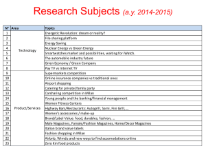 Research Subjects (a.y. 2014-2015)