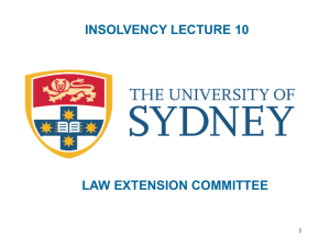 INSOLVENCY LECTURE 10 LAW EXTENSION COMMITTEE 1