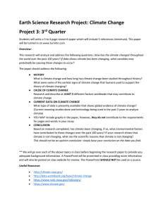 Earth Science Research Project: Climate Change Project 3: 3 Quarter rd