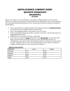 EARTH SCIENCE CURRENT EVENT Quarterly Assignment (Academic)