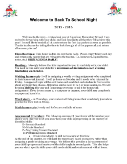 Welcome to Back To School Night 2015 - 2016