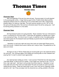 Thomas Times October 2015  Classroom News