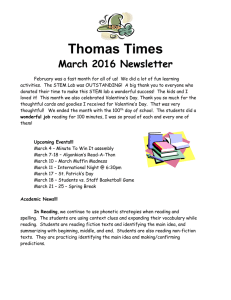 Thomas Times March 2016 Newsletter