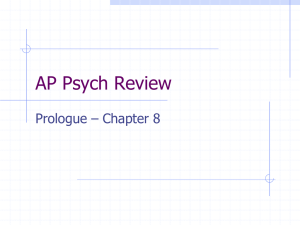 AP Psych Review Prologue – Chapter 8