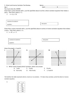 F– Direct and Inverse Variation Test Review  Name:_________________________________ Alg 1