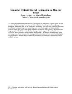 Impact of Historic District Designation on Housing Prices School of Business/Honors Program