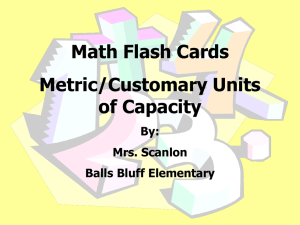Math Flash Cards Metric/Customary Units of Capacity By: