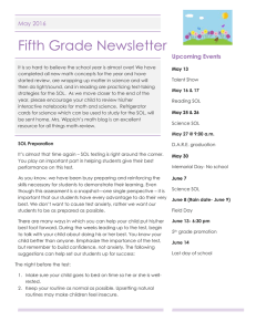 Fifth Grade Newsletter May 2016 Upcoming Events