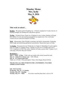 Monday Memo Mrs. Kelly May 9, 2016