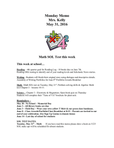 Monday Memo Mrs. Kelly May 31, 2016
