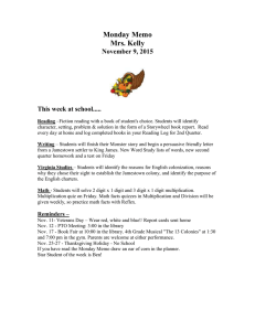 Monday Memo Mrs. Kelly November 9, 2015
