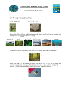 Animals and Habitats Study Guide