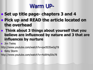 Warm UP- Set up title page- chapters 3 and 4 the overhead
