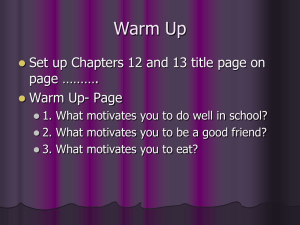 Warm Up Set up Chapters 12 and 13 title page on