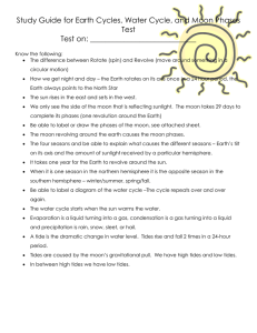 Study Guide for Earth Cycles, Water Cycle, and Moon Phases Test