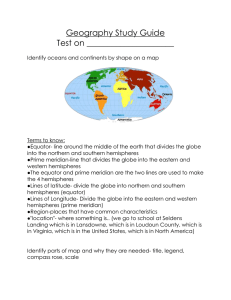 Geography Study Guide Test on _____________________