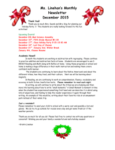 Ms. Linehan's Monthly Newsletter December 2015 Thank You!!