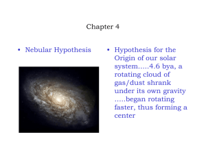 Chapter 4 • Nebular Hypothesis • Hypothesis for the Origin of our solar